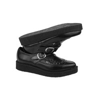 BLACK LEATHER POINTED CREEPERS - A8520