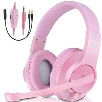 3.5mm Gaming Headset Mic LED Headphones Stereo for Laptop PC PS4 Pro Xbox Pink