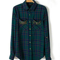 Chic Women's Classical Red  Black Plaid Rivets Pockets Lapel Turn-up Long Sleeve Cotton Shirts Casual Blouse Tops 2 Colors