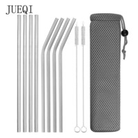 Reusable Stainless Steel Metal Drinking Straws with Cleaning Brush
