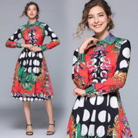Givenchy The latest fashionable long-sleeved, waist-down, medium-long fashionable printed thin dress