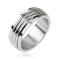 Groovy Spin - FINAL SALE Triple grooved band men's spinner ring in silver stainless steel