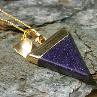 Ambition Blue Goldstone Triangle Necklace - Love, Affection, Calming, Pendant, Flag, Blue Goldstone, Ambition, Success, Leaf