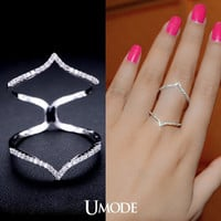 Cubic Zirconia Stacking Ring Double Chevron Ring Cubic Zirconia V Ring Statement Ring Long Finger Ring Silver Ring Micro Pave Ring