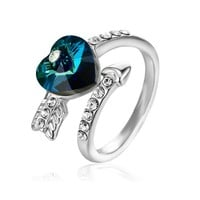 Fashion Blue Romantic Style Crystal Heart Shaped Ring For Women
