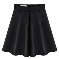 Black High Waist Pocket PU Skater Skirt