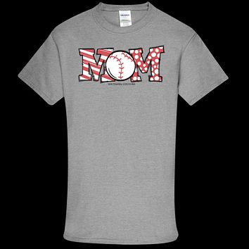 Southern Couture Soft Collection Baseball Mom front print T-Shirt