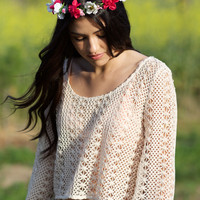Natural Flower Crochet Top