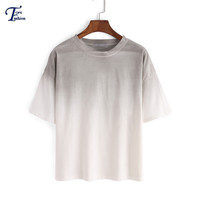 Ladies Short Sleeve Round Neck Loose Tees 2016 New Arrival Casual Summer Style Hot Sale Grey Ombre Color Block T-Shirt