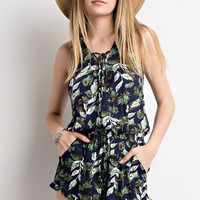 Lanai Lace-up Romper - Navy