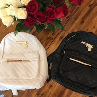 Forty-five fly faux-leather full sized backpack accessory in black or white