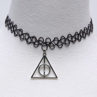 Handmade Vintage Tattoo Gothic Choker Necklace with Harry Potter Pendant