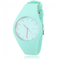 Men Women GENEVA Round Dial Alloy Case Silicone Band Sport Quartz Wrist Watch Light Green - Default