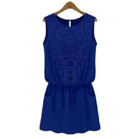 Blue Lace Panel Sleeveless Dress with Pocket
