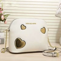 MK Women Shopping Leather Tote Handbag Shoulder Bag white