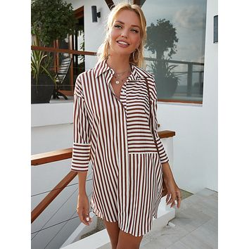 Striped Button Front Tunic Dress