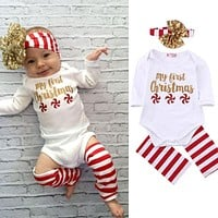 Newborn Kids Baby Boy Girl Infant Bodysuits Long Sleeve Jumpsuit Bodysuit Clothes Head Bands Outfit Set