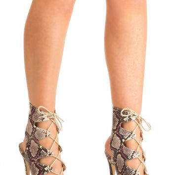 Abbie Lace Up High Heel Snake Print Shoes in Brown