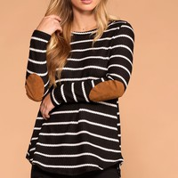 Libby Black Stripe Elbow Patch Sweater