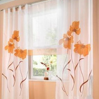 Hot Sale Manual Spray Painted Flower Window Curtains for Living Room Bedroom Window Sheer Blinds