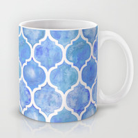 Cornflower Blue Moroccan Hand Painted Watercolor Pattern Mug by Micklyn