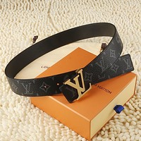 lv louis vuitton womens mens fashion smooth buckle belt leather belt monogram leather belt 92