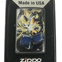 Zippo Custom Lighter - Starry Lighter Flames Night Art Design