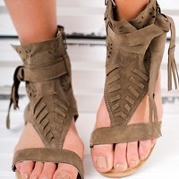 In Luck Now Naughty Monkey Leather Sandals (Olive)