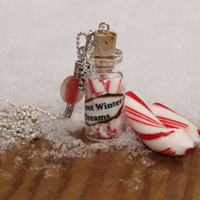 SALE Winter Peppermint Candy Cane Winter Wonderland Beautiful Glass vial Bottle necklace By: Tranquilityy