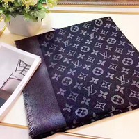 Louis Vuitton LV New fashion monogram print scarf women Black