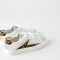 STUDDED ANIMAL PRINT SNEAKERS