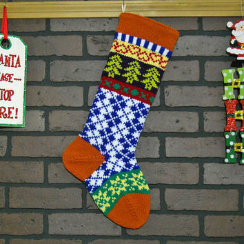 Argyle Christmas Stocking, Hand Knit Fair Isle Christmas Stocking with Green Trees and Yellow Stars, Can be Personalized, Wedding Gift Idea