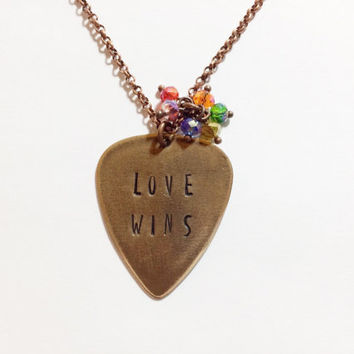 "Metal Guitar Pick ""LOVE WINS"" Necklace, Hand Stamped Vintaj"