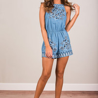 Running To You Romper, Chambray