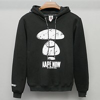 Bape Aape Fashion new pattern print couple leisure keep warm hooded long sleeve top sweater Black