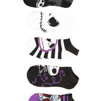 The Nightmare Before Christmas Jack Sally No-Show Socks 5 Pair