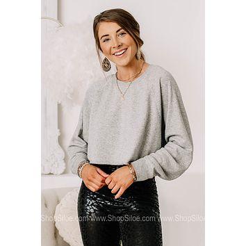 In The Outer Banks Basic Cropped Sweatshirt | Heather Grey