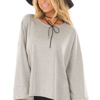 Heather Grey Hi Low Sweater with Pearl Cuff Details