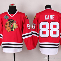 Blackhawks #88 Patrick Kane Red Hockey Jersey With 2015 Stanley Cup Champion Patches Hockey Wears Professional Hockey Uniform