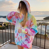 2020 new women's new tie-dye hooded casual sweater top