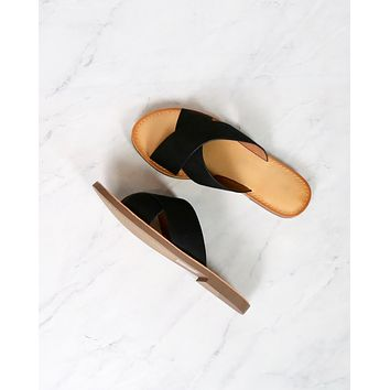 Coco Criss Cross Faux Suede Slip On Flat Sandals in Black