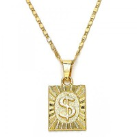 Gold Layered 04.242.0090.24 Pendant Necklace, Money Sign Design, Polished Finish, Golden Tone