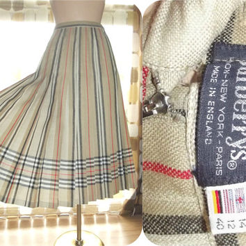 Vintage 80s Burberry Classic Plaid Reversible Pleated Skirt Size US 12 (UK 14) Striped Tan Red Black