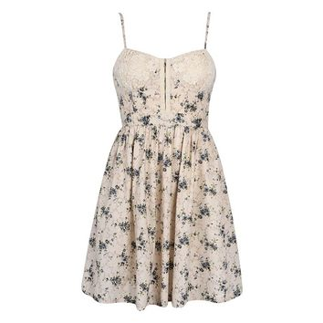 FLORAL DRESS WITH CROCHET LACE CUP