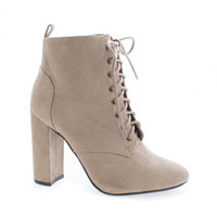 Eminent Lt Taupe F-Suede Almond Toe Lace Up High Heel Ankle Boots