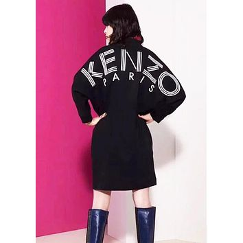 KENZO Fashion Women Long Sleeve V Collar Sweater Dress