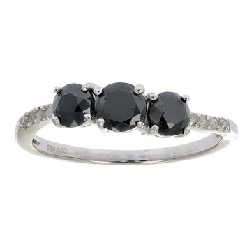 0.91 Carats 1 CT 3 Stone Black and White Diamond Ring With Twist Sterling Silver