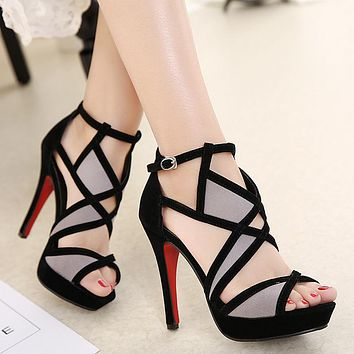 Station Sandals Flock Buckle Strap Color Matching Hollow Thin Heels Women Shoes