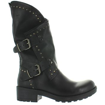 Musse & Cloud Falida - Black Leather Studded Dual Buckle Boot