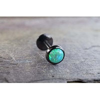 Black IP Green Fire Opal 16 Gauge Cartilage Earring Tragus Monroe Helix Piercing You Choose Stone Size